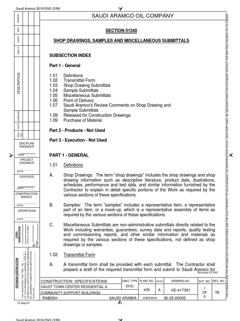 01340 Shop Drawing Sample and Submittals – Document Transmittal Form Template