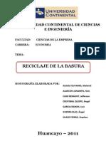 MONOGRAFÍA DEL RECICLAJE DE LA BASURA SOCIOLOGIA
