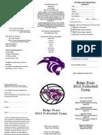 Ridge Point Volleyball Camp Brochure 2013
