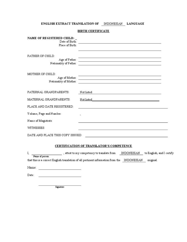 Birth Certificate Translation Form