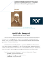Principle of Management_- Contribution of Henri Fayol, Administrative Management Theory in Classical Theory of Management
