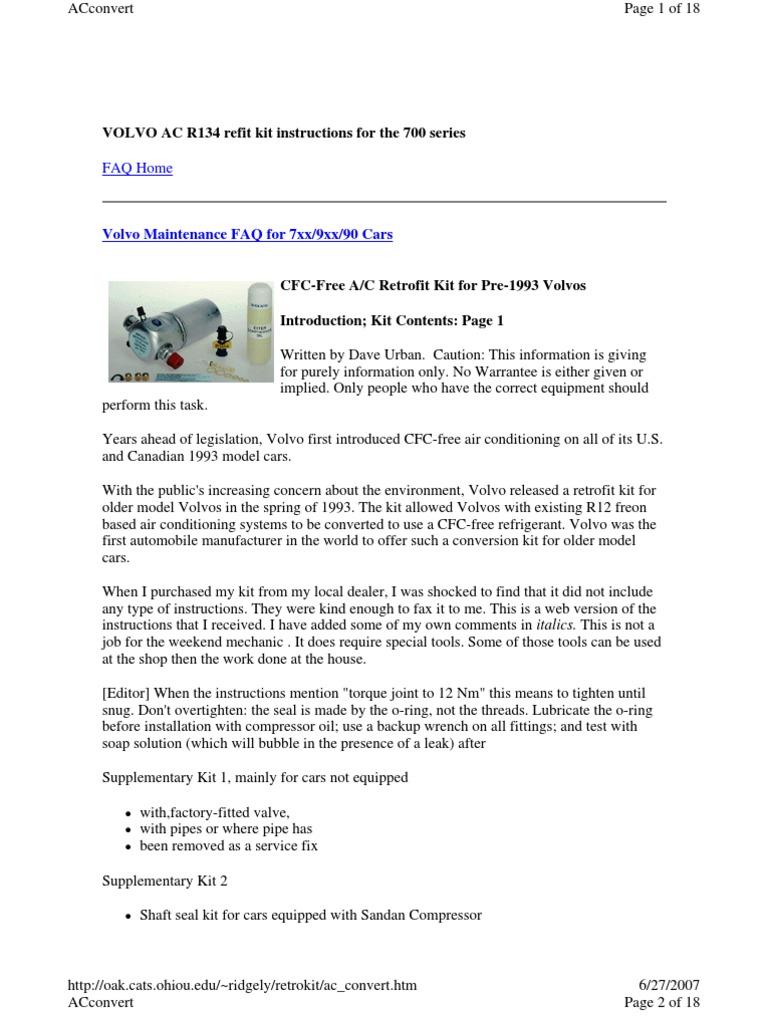 Volvo 740 AC_r12 r134a Retrofit | Leak | Air Conditioning