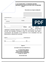 APPLICATION Form Corporations 2013