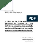 Análisis de declaración de principios sobre la junta militar y memorandum