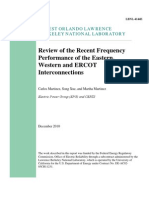 Review of the Recent Frequency Performance of the Eastern Western and ERCOT Interconnections