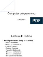 C Course - Lecture 4 - Making Decisions