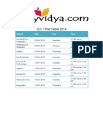 SSC Time Table 2014