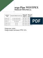 Daftar Harga Pipa WESTPEX
