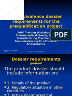 Bio Equivalence Dossier Requirements