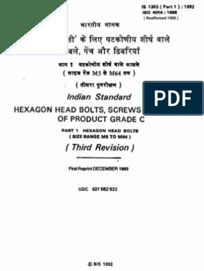 Indian Standard IS 1363(Part1):1992 | Screw | Nut (Hardware)