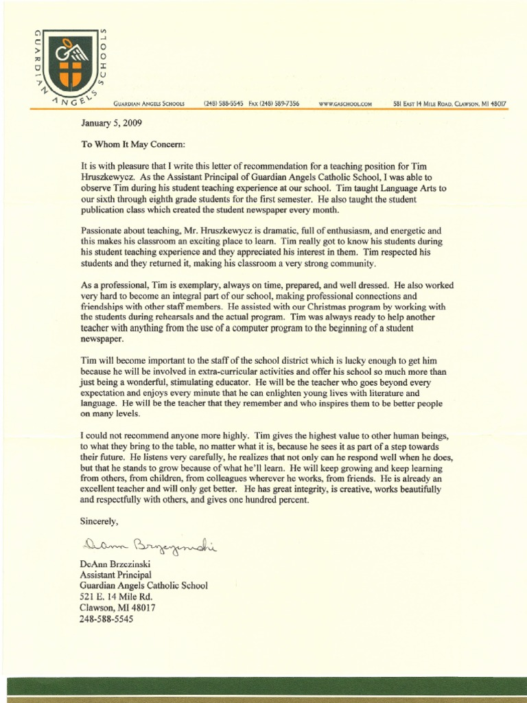 letters of recommendation teachers psychology cognitive science