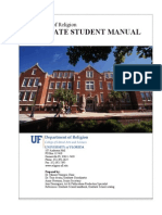 University of Florida Religion Graduate Student Handbook 2012 13