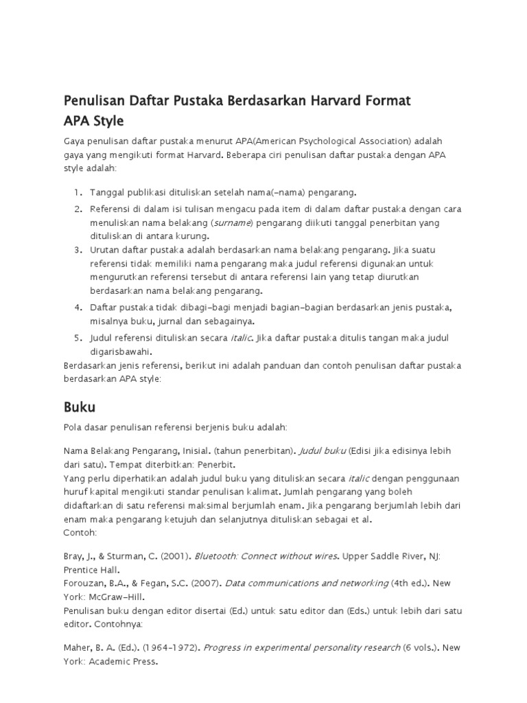 Penulisan Daftar Pustaka Berdasarkan Harvard Format Apa Docx
