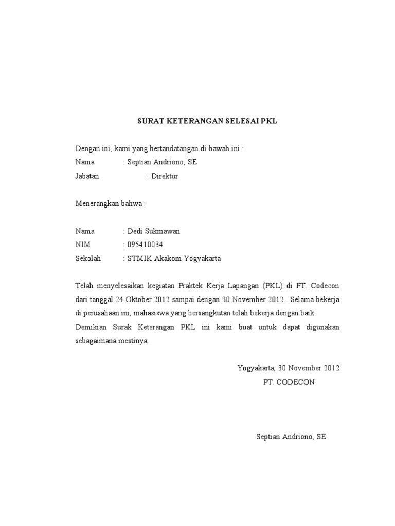 Surat Keterangan Seesai Pkl