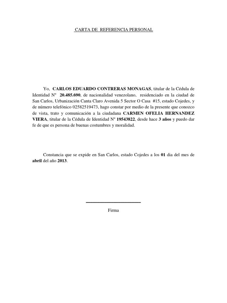 carta de referencia