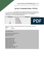 Pengunaan Operator Aritmatika Dalam MYSQL