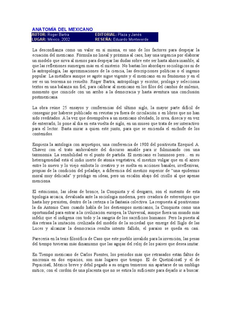 ANATOMÍA DEL MEXICANO de Roger Bartra