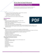 (R) Oral Health Fact Sheet for Dental Professionals-Adults With Down Syndrome (Trisomy 21)