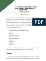 Plan Para La Preparacion Redaccion y Presentacion de Los Informes de Laboratorio