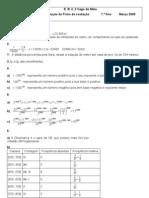 Proposta de resolução da Ficha de Avaliação - Estatística