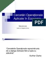 Cercetari Operationale Aplicate in Economie