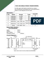 1.o.c & s.c t Test on Single Phase Transformer
