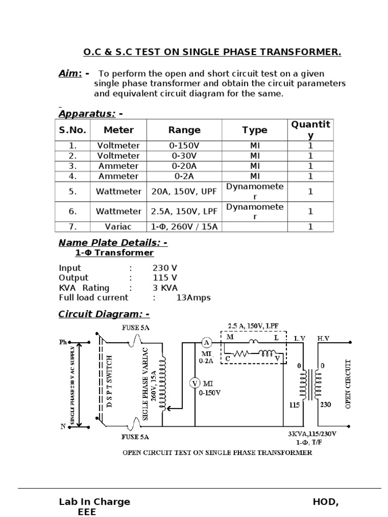 Imgenes De Single Phase Transformers Open Circuit And Short Test Oc Sc T On Transformer Electric Current Thus We See That