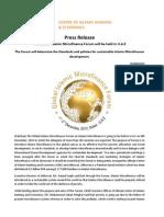Press Release on the Global Islamic Microfinance Forum