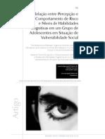 Relação entre percepção e comportamento de risco e níveis de habilidades cognitivas num grupo de adolescentes em situação de vulnerabilidade social.pdf