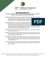 XU-CSG 20th Directorate Resolution 0009-1314
