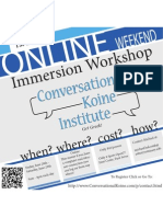 Koine Greek Immersion Event - online Flyer