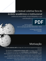 """Apresentação da dissertação de mestrado """"Autoria textual coletiva fora do âmbito acadêmico e institucional"""""""