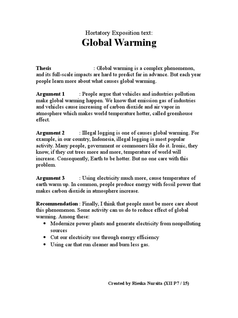 Contoh Hortatory Exposition About Global Warming Download Gambar