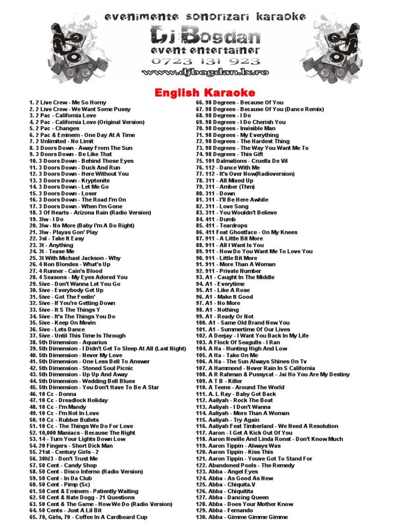 8bfbbde769 Catalog English Karaoke