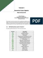 Tutorial 4 Numerical Linear Algebra