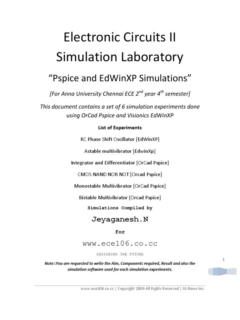 Electronic Circuits Ii Simulation Laboratory Simulator Cmos