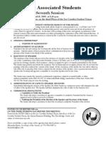 ASUN Senate Agenda for April 15, 2009