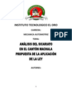 Analisis Del Sicariato en El Canton Machalagth