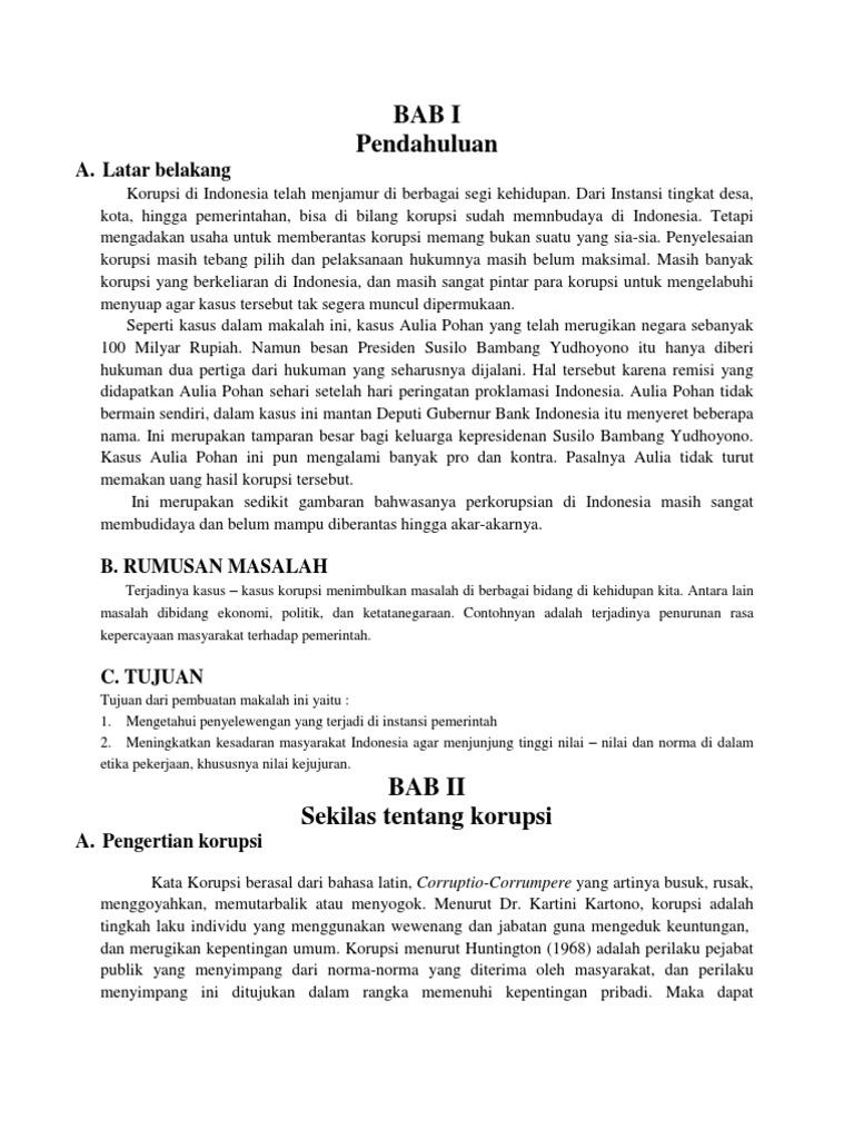 Makalah Kasus Korupsi Aulia Pohan