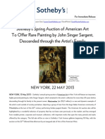 Sotheby's American Art Auction, Featuring John Singer Sargent Painting Descended through the Artist's Family - NY, 22 May 2013