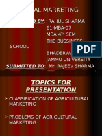 CLASSIFICATION OF AGRICULTURAL MARKETING & PROBLEMS OF AGRICULTURAL MARKETING