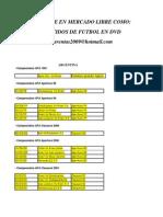 Catalogo de Partidos en Dvd 2013