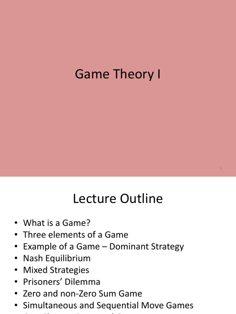 Game Theory Game Theory Leisure Activities