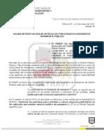 BOLETÍN-N 36. ACLARA SETRAVI NO VIOLA ARTÍCULO DE PUBLICIDAD EN UNIDADES DE TRANSPORTE PÚBLICO