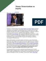 UFOs and Obama Memorandum on Scientific Integrity