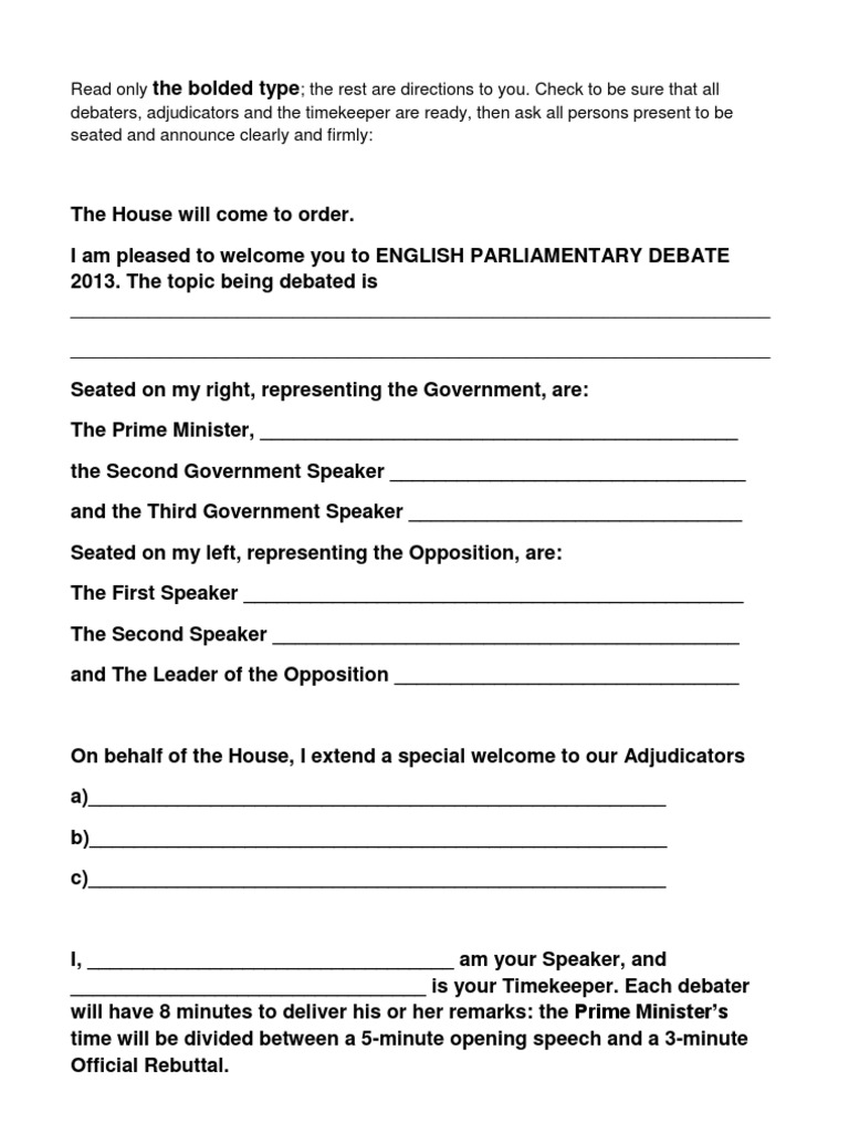Parliamentary debate speaker 39 s script prime minister for First speaker debate template