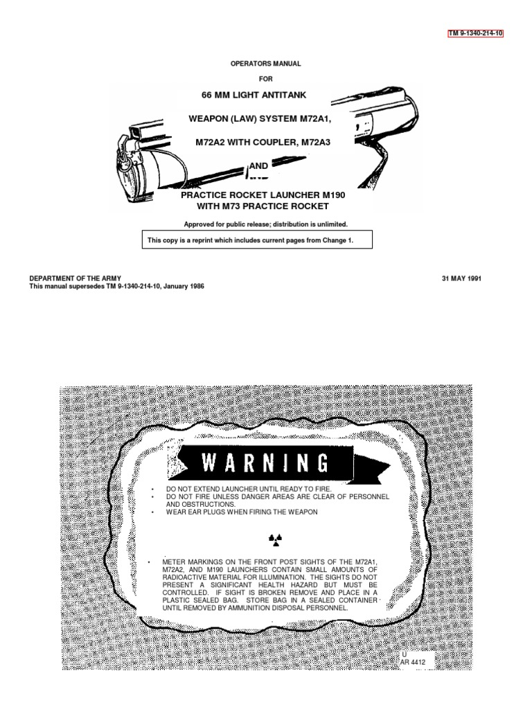 M72 LAW Manual | Tools | Projectiles