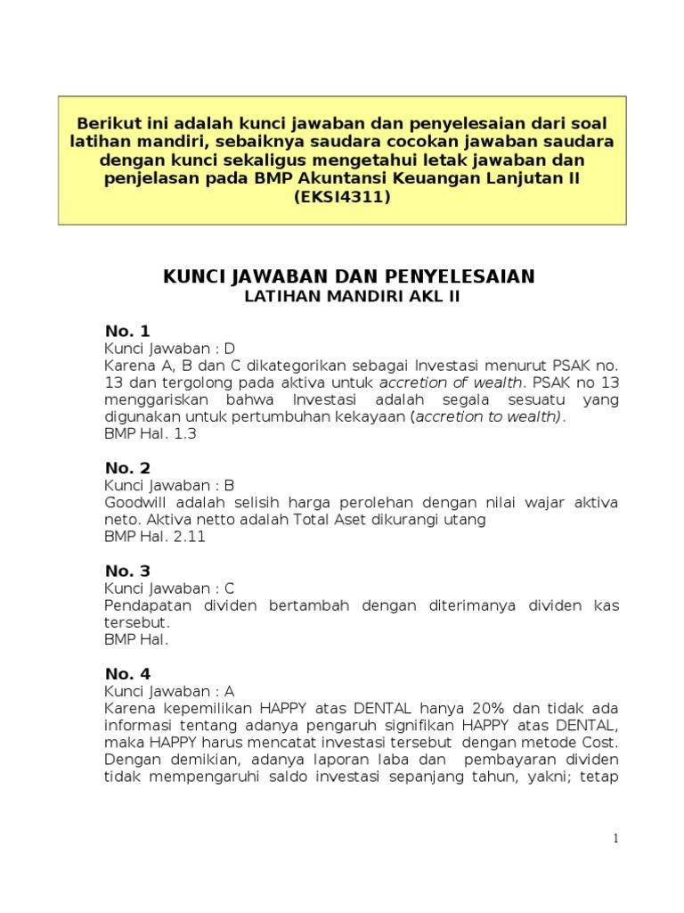 Kunci Jawaban Akuntansi Keuangan Lanjutan Perspektif Indonesia Buku 2 Guru Galeri