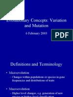 Variation and Mutation