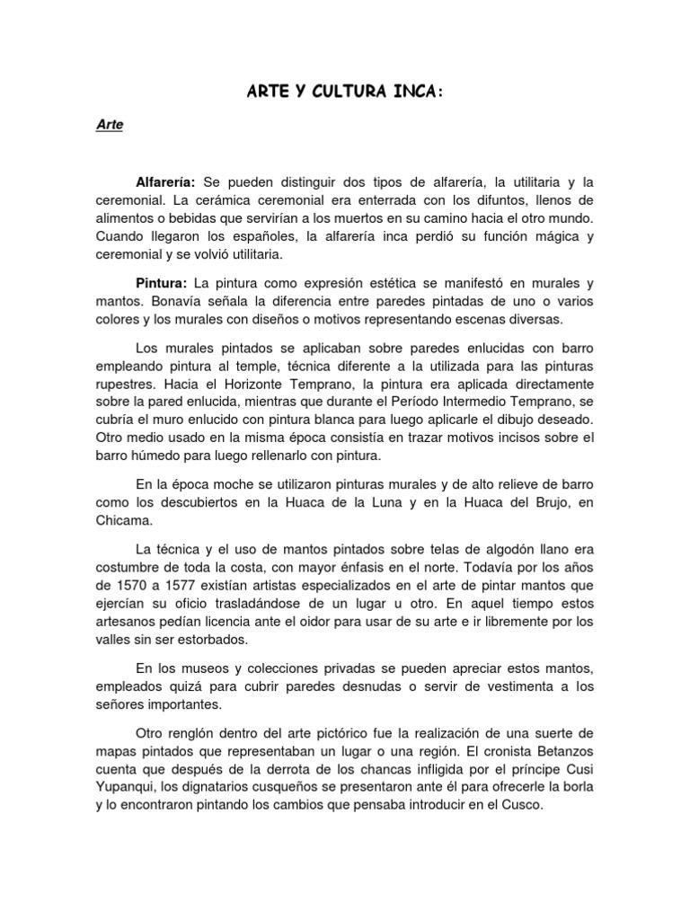 Arte Y Cultura Inca Maya Y Azteca Docx